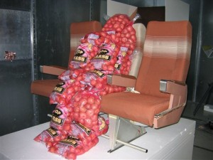 Sacks of Potatoes Simulate Passengers (Photo: Associated Press)